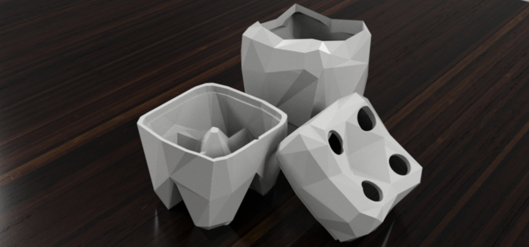Low Poly Toothbrush and Toothpaste holder 3D Print 28511