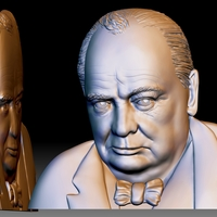 Small Churchill STL portrait 3d file bas-relief model for CNC 3D Printing 285529