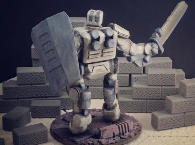 Brontes Heavy Assault Robot (28mm scale) 3D Print 28565