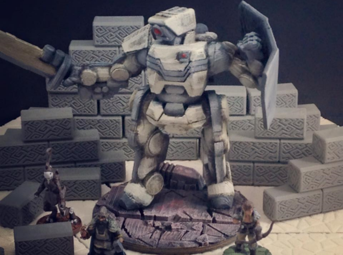 Brontes Heavy Assault Robot (28mm scale) 3D Print 28566