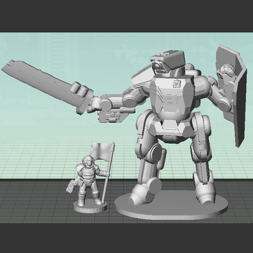 Brontes Heavy Assault Robot (28mm scale) 3D Print 28568