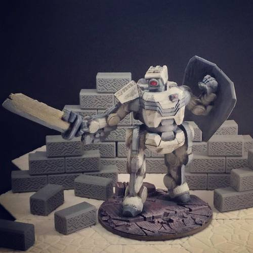 Brontes Heavy Assault Robot (28mm scale) 3D Print 28569