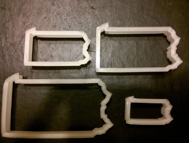 Pennsylvania Cookie Cutter, set of four 3D Print 29274