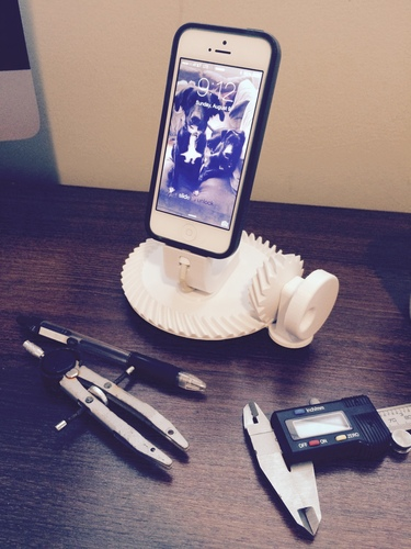 Gearhead iPhone 5/6 Dock, Spiral Bevel Gear 51T/17T, 3:1 Ratio 3D Print 29364