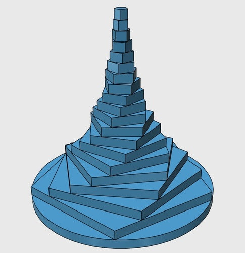 Ascending Pentagon Fractal Tower 3D Print 29626