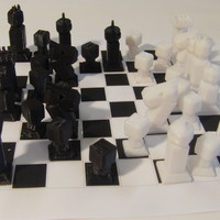 Small Phelps3D Low Poly Chess Set 3D Printing 29958