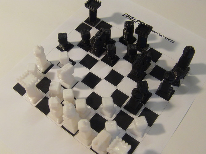 Phelps3D Low Poly Chess Set 3D Print 29960
