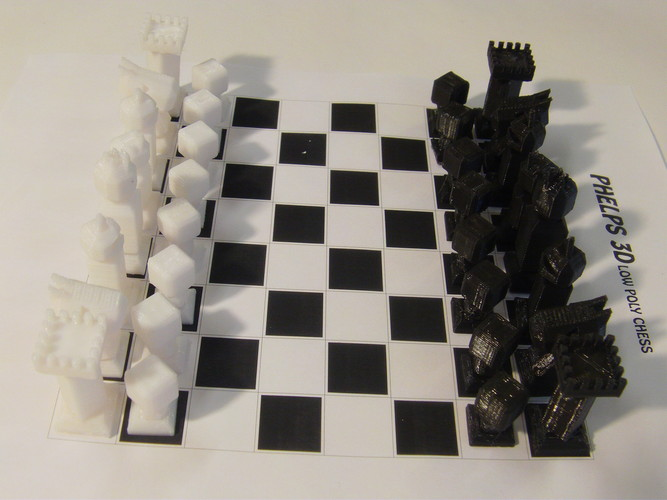 Phelps3D Low Poly Chess Set 3D Print 29963