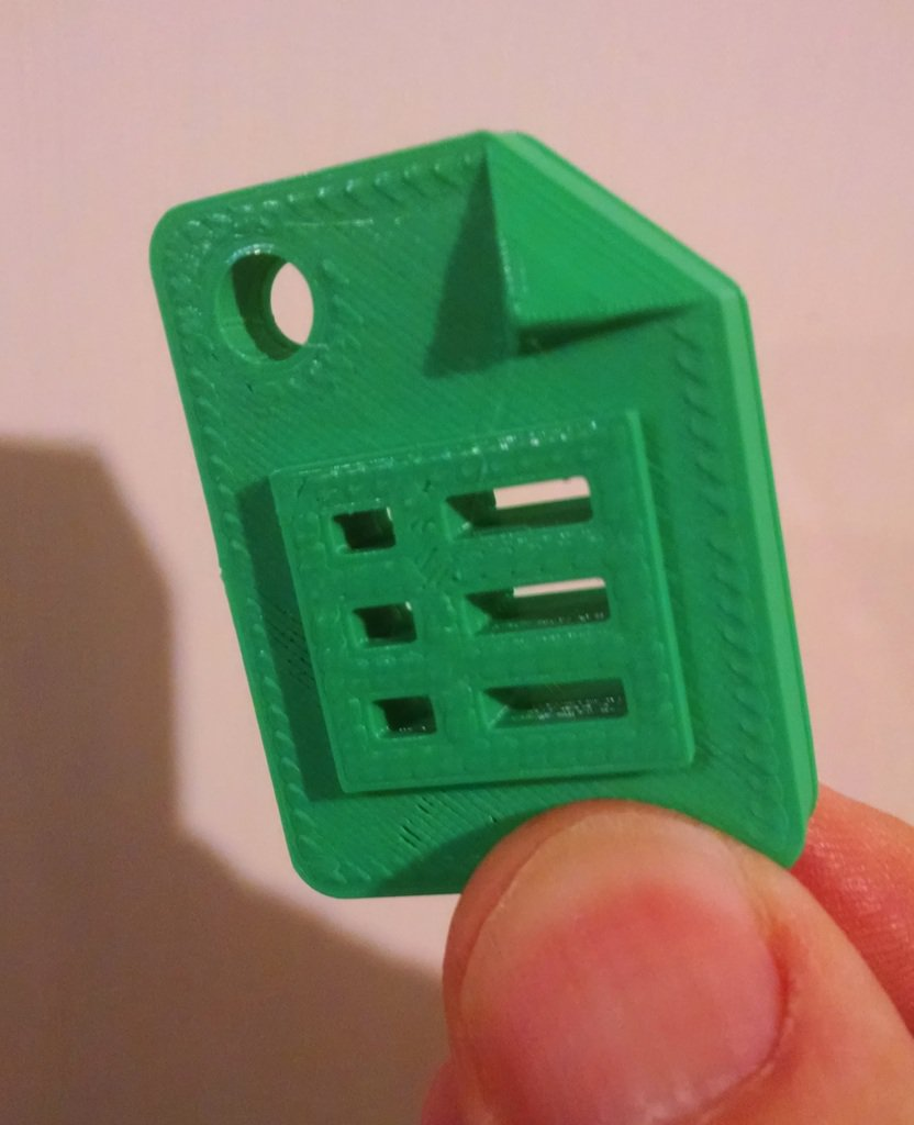 3d printed google sheets product icon with keychain craft hole by