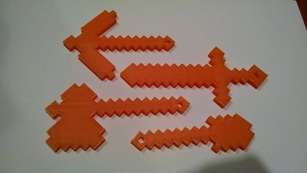 Medium Diamond Minecraft Tools -remix with keychain holes 3D Printing 30128