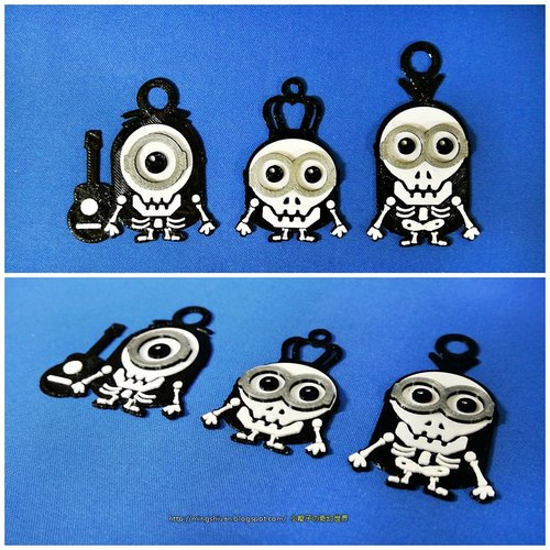 Minions Keychain / Magnets - Skull / Skeleton Version 3D Print 30308