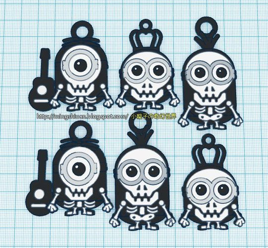 Minions Keychain / Magnets - Skull / Skeleton Version 3D Print 30310
