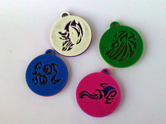 Pendants. Zodiac signs. Fire. 3D Print 30744