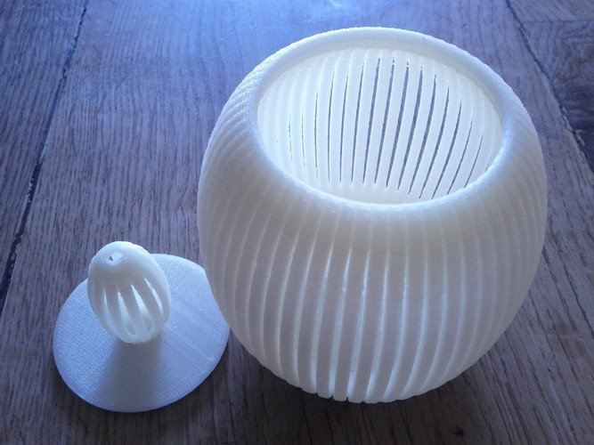 Slotted bowl with lid 3D Print 31708