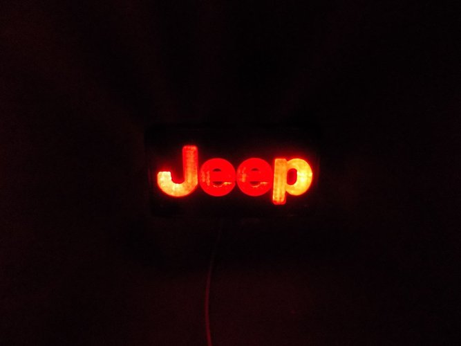 Jeep Emblem LED Light/Nightlight 3D Print 32135