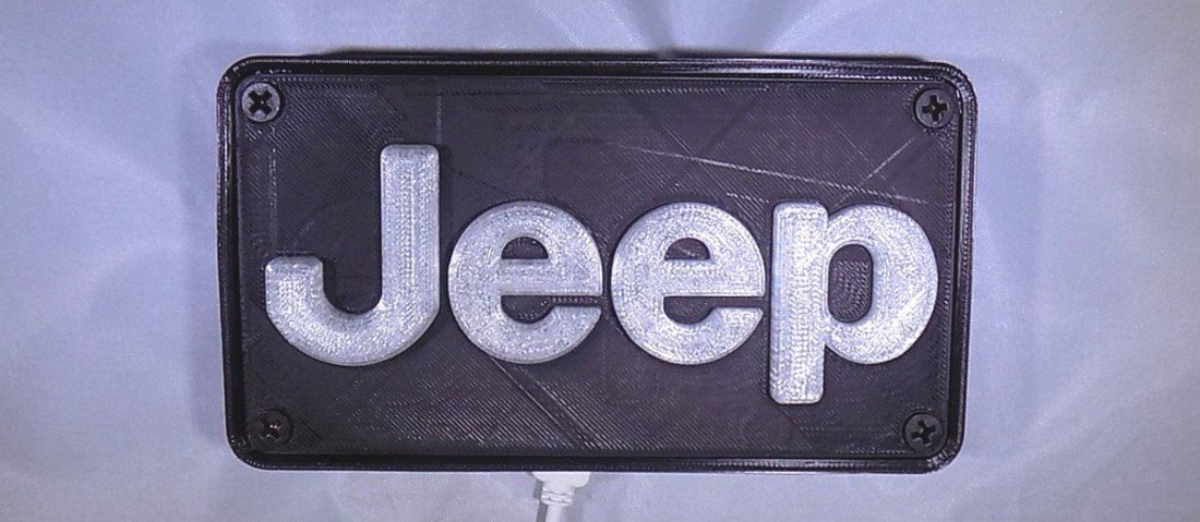 Jeep Emblem LED Light/Nightlight 3D Print 32138