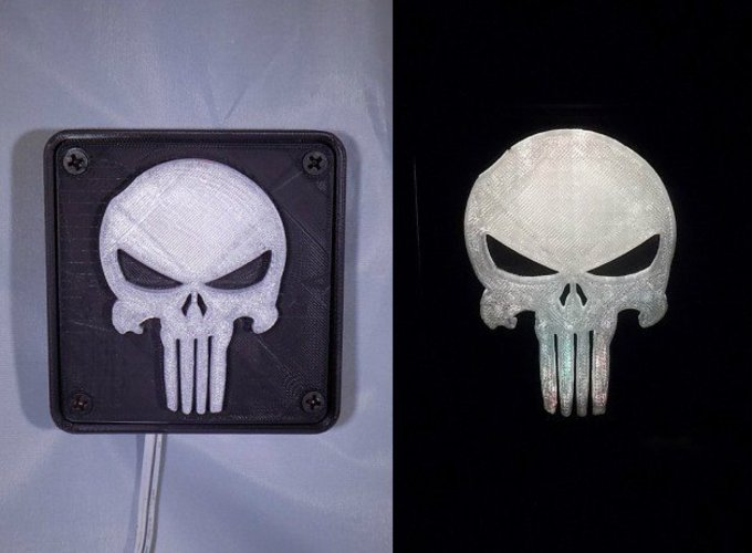 Punisher LED Light/Nightlight 3D Print 32166