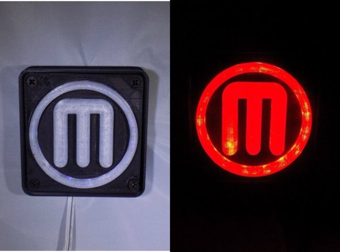Makerbot M Logo LED Nightlight/Lamp 3D Print 32237