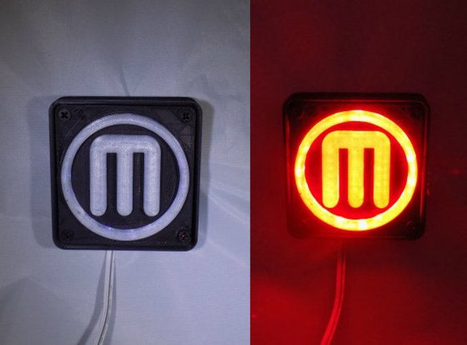 Makerbot M Logo LED Nightlight/Lamp 3D Print 32238
