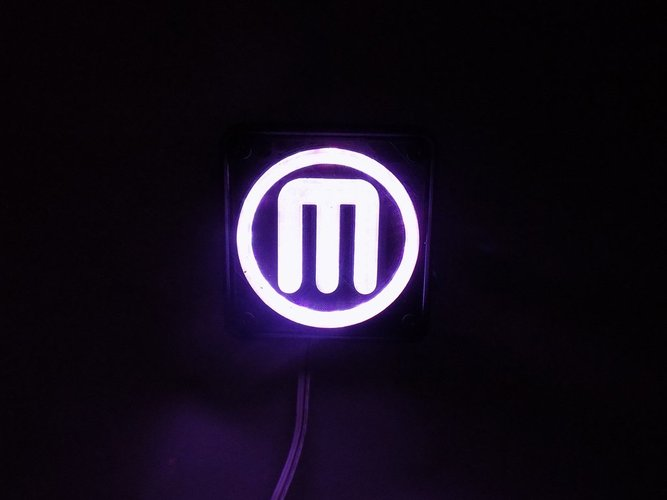 Makerbot M Logo LED Nightlight/Lamp 3D Print 32242