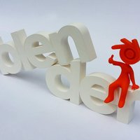 Small Big letters logo Blender + Blender guy 3D Printing 32468