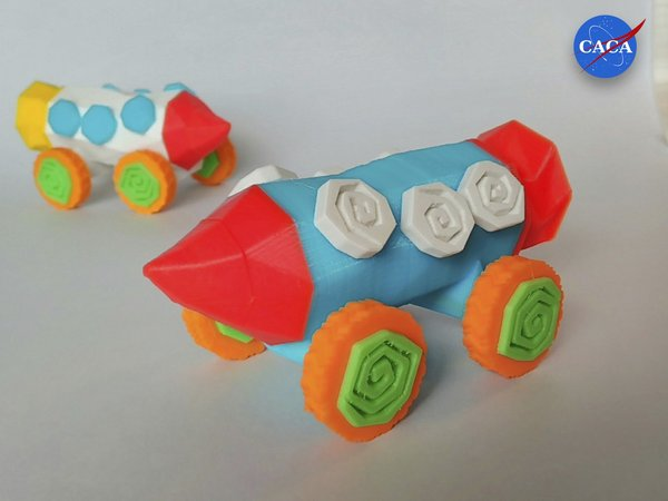 Medium Crazy Rocket with Wheels and a Secret Compartment 3D Printing 33070