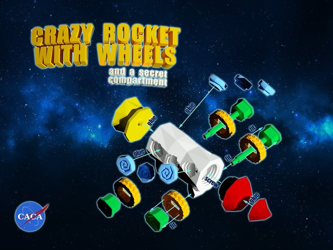 Crazy Rocket with Wheels and a Secret Compartment 3D Print 33075