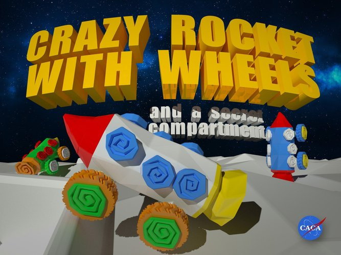 Crazy Rocket with Wheels and a Secret Compartment 3D Print 33076