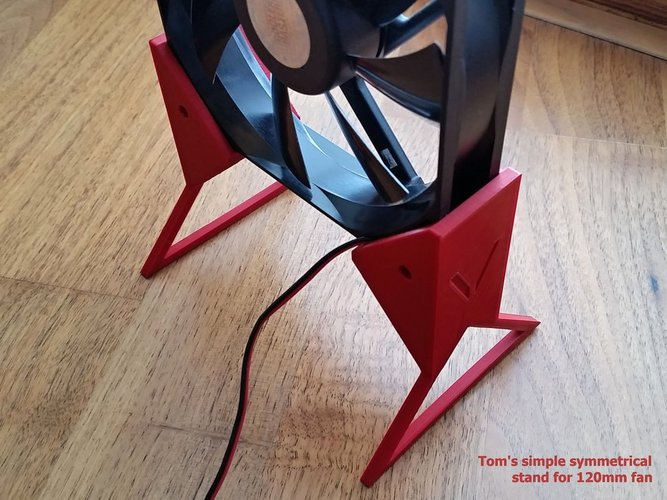 Tom's simple symmetrical stand for 120mm fan (V1) 3D Print 33152