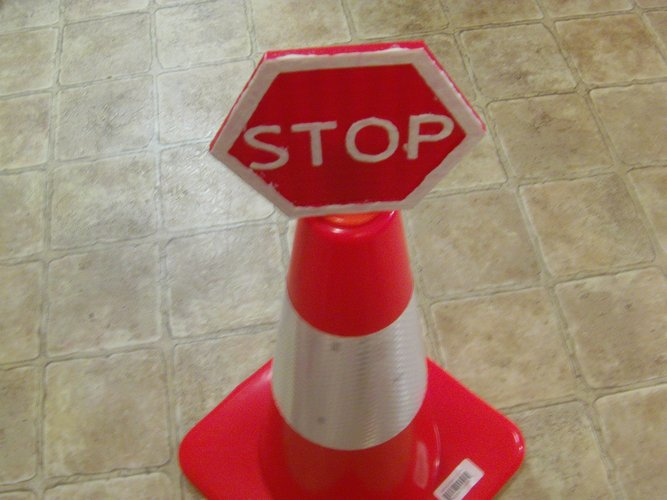 Safety Cone Stop Sign 3D Print 33420