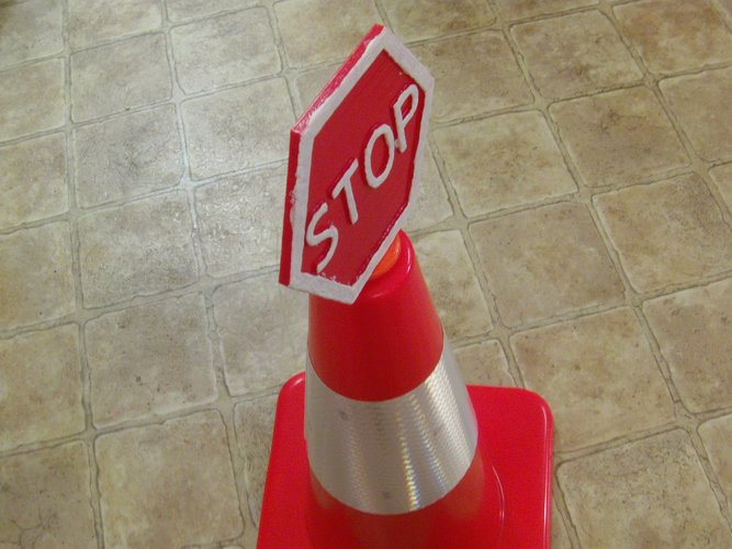 Safety Cone Stop Sign 3D Print 33422