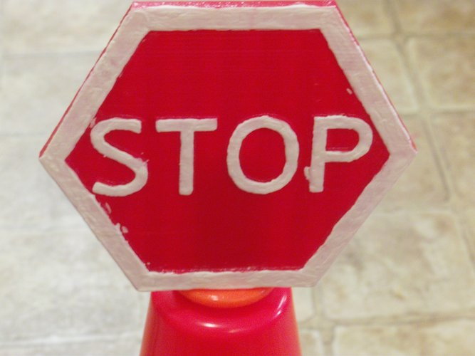 Safety Cone Stop Sign 3D Print 33423