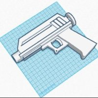 Small Star Wars Blaster with Light Saber Baenet 3D Printing 33817