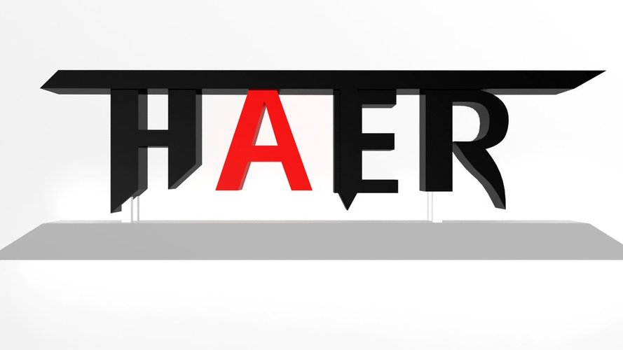 """Hater"" Logotype stand 3D Print 33842"