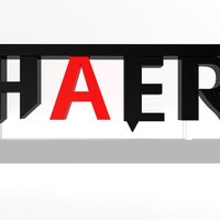 "Small ""Hater"" Logotype stand 3D Printing 33842"