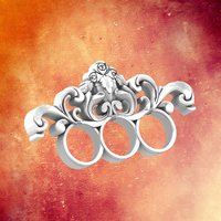 Small Untitled Three Finger Baroque ring 3D Printing 34364
