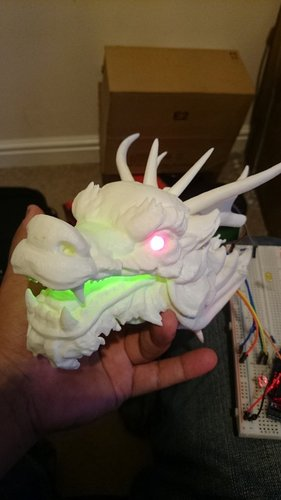 Dragon Head - With Glowing eyes and mouth 3D Print 34381