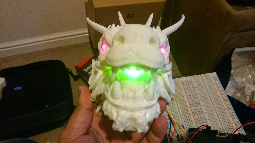Dragon Head - With Glowing eyes and mouth (1) 3D Print 34390