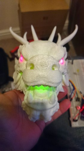 Dragon Head - With Glowing eyes and mouth (1) 3D Print 34393