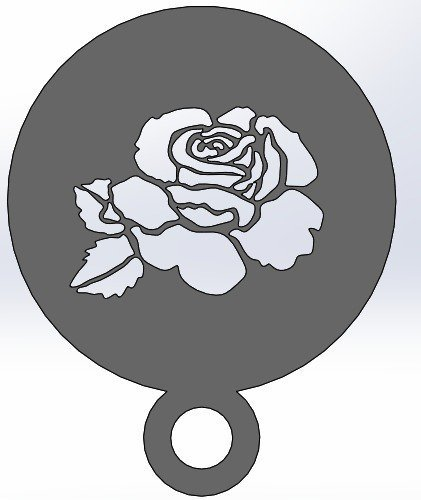 coffee Stencil - Rose 3D Print 34422