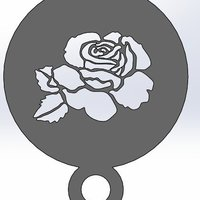 Small coffee Stencil - Rose 3D Printing 34422