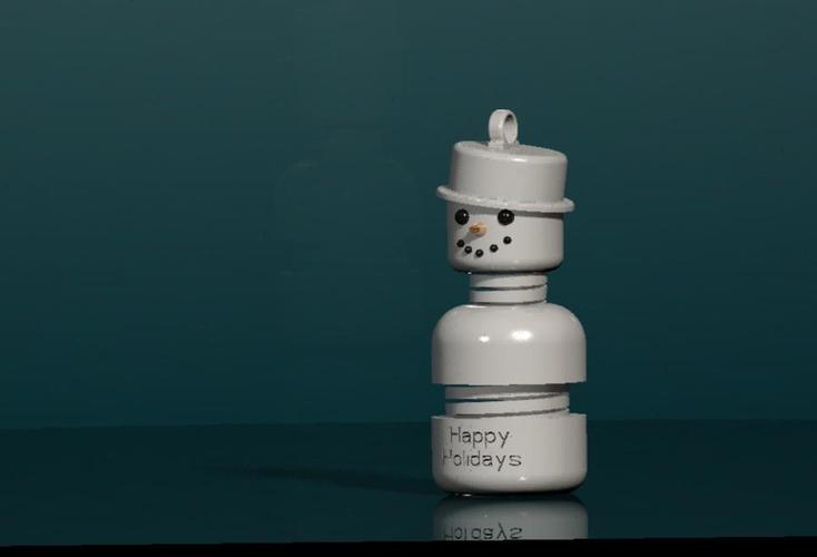 #MakerBotOrnaments ,Snowy the springy snowman 3D Print 34923