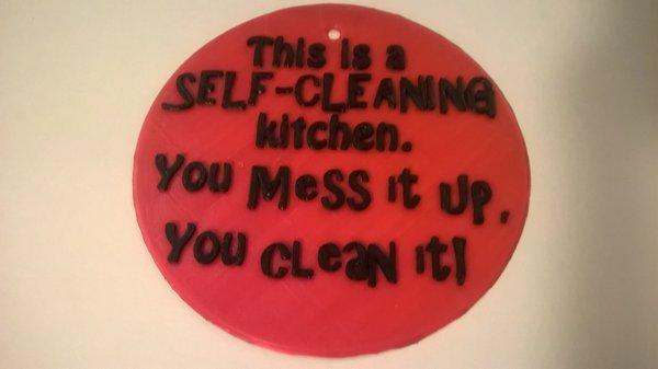 Medium Self Cleaning Kitchen Sign 3D Printing 35360