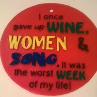Small Gave up Wine Women Song Sign 3D Printing 35364