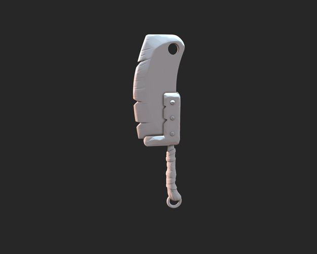 Stylized cleaver keyring 3D Print 37335