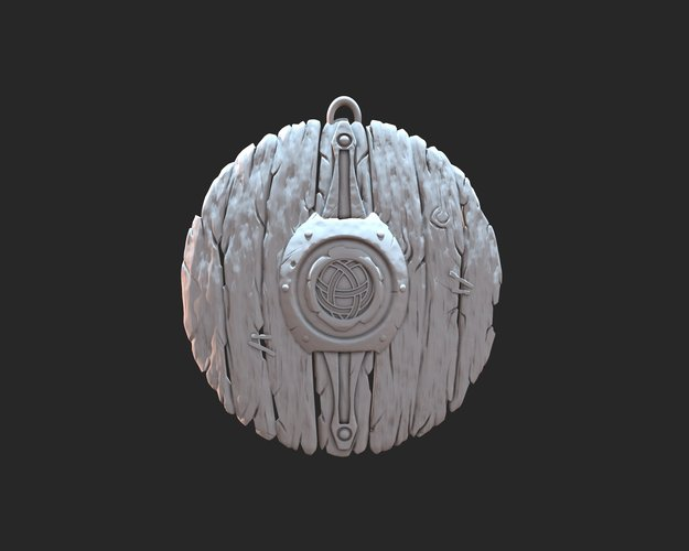 Stylized shield keyring 3D Print 37350