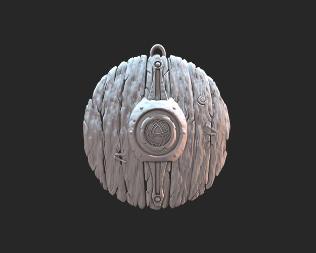 Stylized shield keyring 3D Print 37351