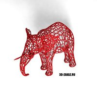 Small Tired Red Elephant style Voronoi 3D Printing 37609
