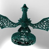 Small Dragon with a circle in stile Voronoi  3D Printing 37679