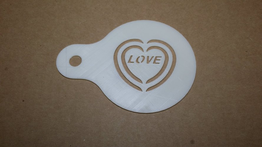 love Coffee Decoration  Template  1mm​ 3D Print 38133
